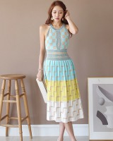 Temperament halter jacquard pinched waist knitted dress
