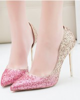 Nightclub slim sexy stilettos sequins hollow shoes