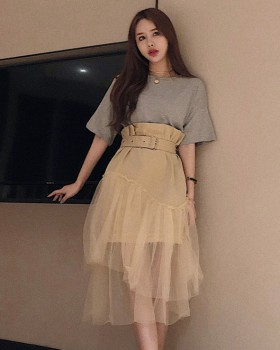 Pseudo-two high waist gauze T-shirt summer splice dress