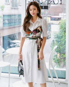 Summer Korean style slim Pseudo-two dress for women