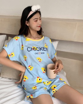 Spring and summer loose short sleeve pajamas 2pcs set for women