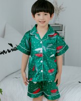 Girl thin imitation silk child boy printing pajamas a set