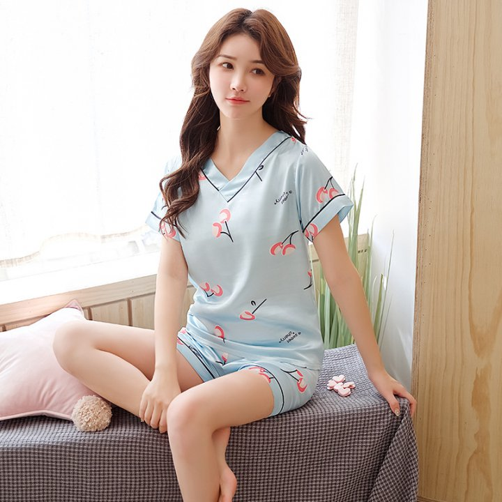 Student cartoon homewear imitation silk lovely pajamas a set