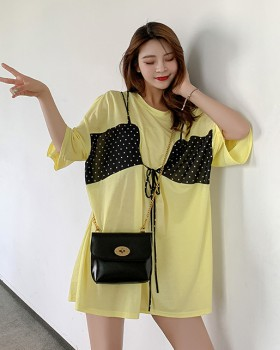 Polka dot summer loose tops Korean style frenum Pseudo-two vest