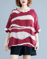 Bat sleeve all-match Casual loose round neck tops
