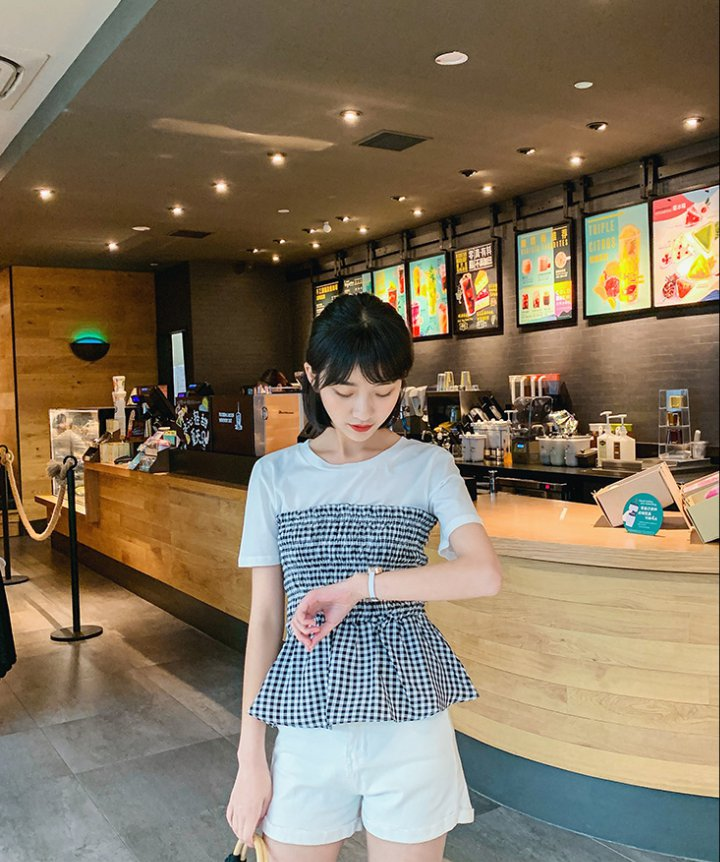 Pinched waist slim T-shirt short sleeve tops for women