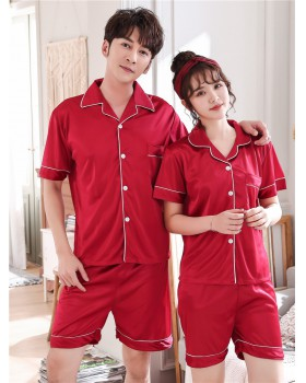 Couples shorts short sleeve pajamas 2pcs set for women