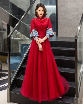 Long slim summer evening dress Chinese style red formal dress