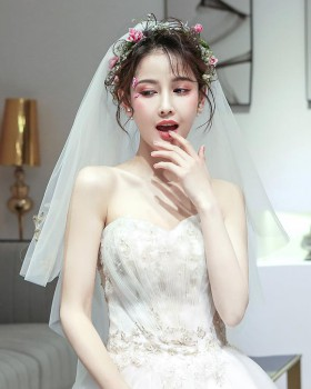 Korean style veil wedding dress for women