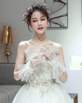 Korean style lace wedding dress flowers elegant Gloves