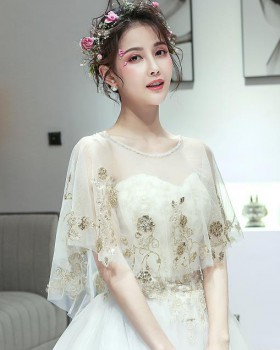 Wedding gauze bride cloak tassels lace formal dress