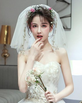 Short Korean style wedding veil small bride headwear