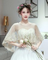 Flat shoulder wedding dress thin cloak for women