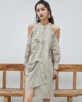 Retro stripe long shirt fashion loose dress