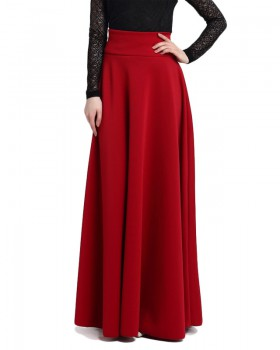 Pleated large yard high waist long skirt for women