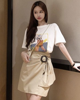 Fashion short sleeve skirt stereoscopic T-shirt a set