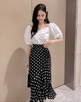 Flat shoulder mermaid package hip polka dot skirt 2pcs set