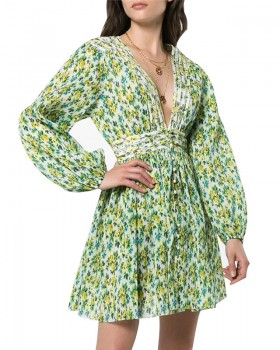 Green printing pinched waist short sexy dress for women
