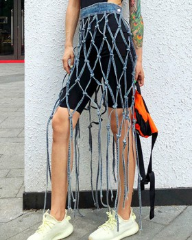 Fishing net leggings inside the ride skirt for women