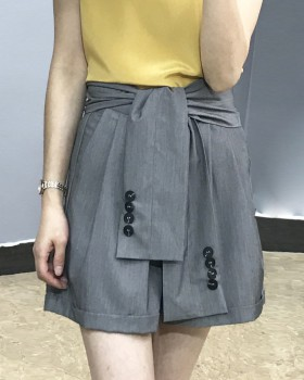 Summer wide leg business suit high waist shorts for women