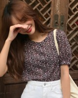 Korean style short sleeve shirt floral temperament tops