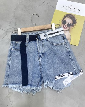 European style high waist wide leg pants holes shorts