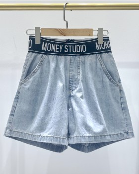Summer loose all-match shorts retro high waist jeans