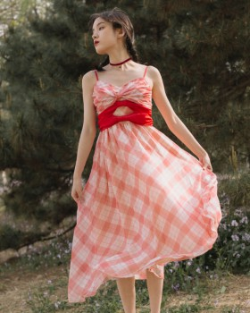 France style vacation dress sling bow long dress