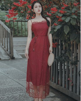 With belt gauze embroidered dress silk retro strap dress