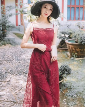 Embroidered gauze dress with belt retro strap dress