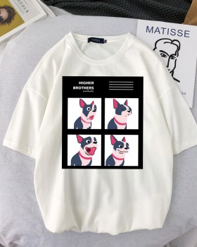 Loose dog hip-hop printing couples T-shirt for women