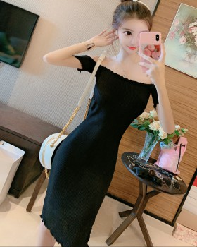 Nightclub strapless sexy knitted flat shoulder dress