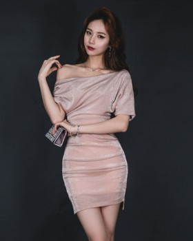Package hip oblique collar ladies liangsi fold sexy dress
