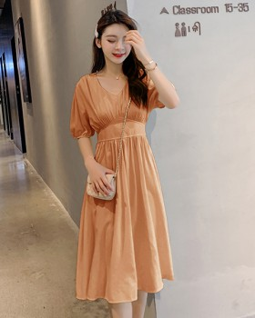 V-neck all-match pinched waist long Korean style dress