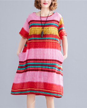 Mixed colors printing stripe large yard dress
