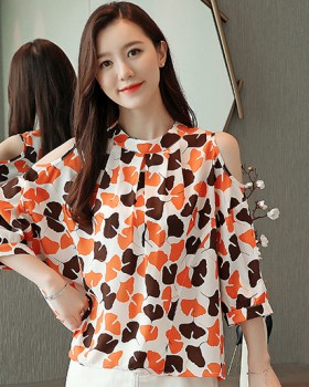 Loose Cover belly chiffon shirt summer tops for women