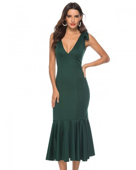 Slim fashion evening dress pleated dress for women