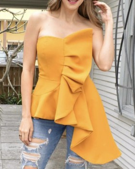 Summer sexy tops sleeveless wrapped chest shirt for women