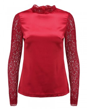Lace large yard tops wine-red long sleeve shirt