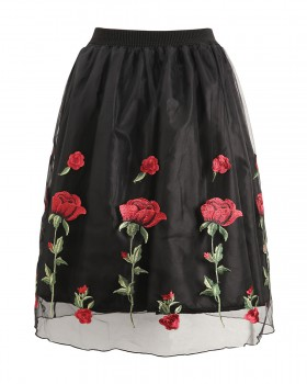 Rose long spring and summer embroidery skirt