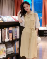 Korean style summer pocket pinched waist bandage splice dress