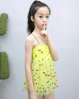 Girl big child lovely conjoined cozy swimwear