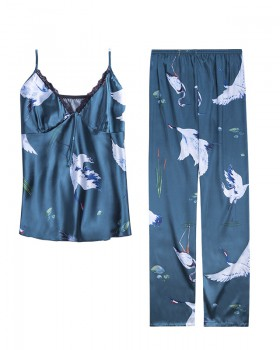 Summer long pants imitation silk pajamas 2pcs set for women