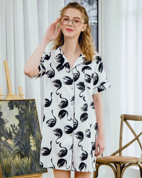 Sexy imitation silk night dress homewear pajamas for women
