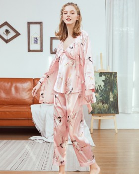 Imitation silk spring and summer long pants sling pajamas a set