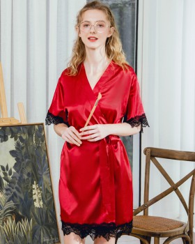 Spring and summer real silk at home nightgown for women