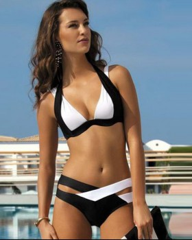 Gather mixed colors separates swimsuit for women