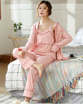 Homewear pajamas spring and summer long pants 3pcs set