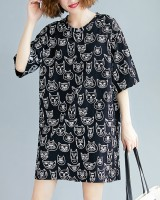 Kitty short sleeve dress graffiti loose T-shirt
