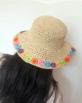 Colors sunscreen flowers shade summer hat for women